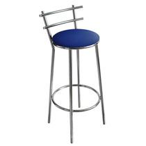 Banqueta Cromada Para Cozinha, Assento Azul, Alt 70 Cm