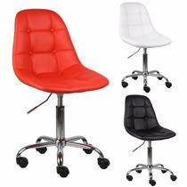 Cadeira Panamá Em Pu C/ Rodizio - P/ Mesa/decoração/quartos