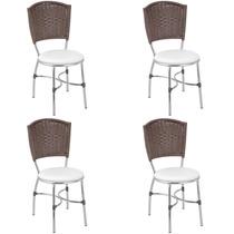 Conjunto De Cadeiras Giovana 4 Peças Fil - Tabaco E Branco