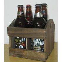 Caixote De Madeira Engradado Para 4 Garrafas De Cerveja