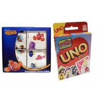 Coleção Com 1 Jogo Uno Polly E 1 Kit C/ 40 Tatuagens Nemo