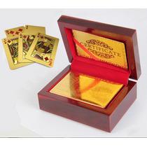 Baralho De Ouro 24k Com Caixa Em Madeira