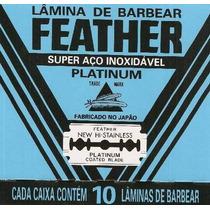 Lamina De Barbear Feather Platinum Caixinha Com 10 Unidades