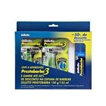 Kit Com 4 Aparelhos Gillette Prestobarba 3 +espuma 150g