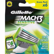 Carga Refil Gillette Mach 3 Sensitive Com 6 Cartuchos