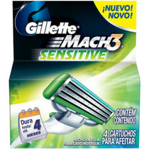 Carga Gillette Mach3 Sensitive C/ 04 Unidades
