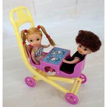 Carrinho Com 2 Bebê Para Boneca Barbie * Menina E Menino