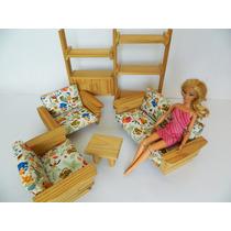 Barbie - Móveis De Sala Em Madeira Para Boneca Barbie
