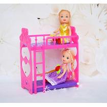 Cama Beliche Com 2 Boneca Bebê Estilo Kelly * Irmã Da Barbie