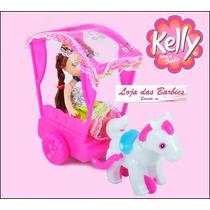 Boneca Bebê Estilo Kelly ( Barbie ) Com Carruagem Cavalinho