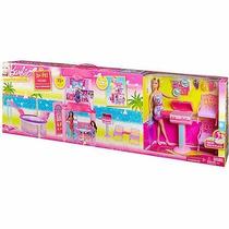 Barbie Casa Férias House Com Boneca Churrasqueira Piscina