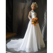 Vestido De Noiva Em Miniatura P/boneca Barbie-personalização