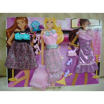 Kit Cartela Roupas Look Barbie Mattel Fashionistas Festa