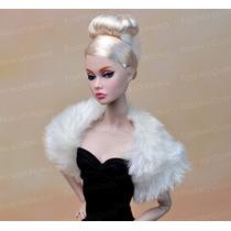 Casaco De Pele Para Boneca Barbie + Sapatos * Bolero Branco
