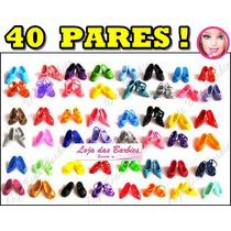 Kit Lote Com 40 Pares De Sapato Para Barbie Sapatinho Deluxe