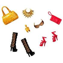 Barbie Acessorios Bolsas Sapatos Vermelho Dourado Mattel
