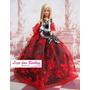 Vestido De Extremo Luxo Para Boneca Barbie + Estola + Sapato