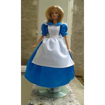 Vestido Alice Da Disney P/ Boneca Barbie
