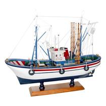 Miniatura Barco De Pesca Carmen Ii Branco Em Madeira