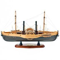 Miniatura Réplica Barco Mississipi Marrom Em Madeira