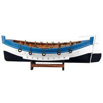 Canoa Grande Com Leme Em Madeira