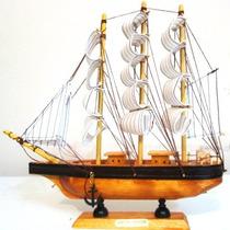 Barco Caravela Em Madeira Tecido Decorativa Lindo Presente14