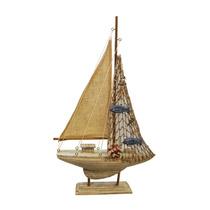 Miniatura De Barco Antigo Médio Em Madeira