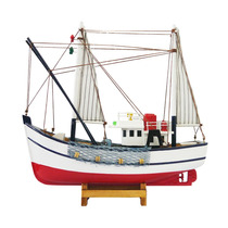 Miniatura Barco Pesqueiro Branco E Vermelho Em Madeira