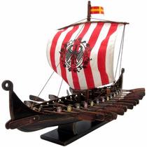 Réplica Miniatura Barco Viking Madeira 45cm Drakkar Oseberg