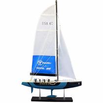 Miniatura Veleiro American Cup One World Gg Em Madeira 44cm