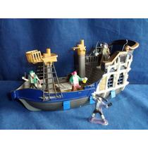 Navio Pirata Usado De Plástico Incompleto 31cm Comprimento