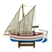 Miniatura Barco De Pesca Argus Branco Em Madeira