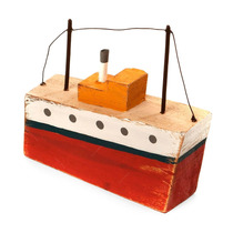 Miniatura Barco Rústico Vermelho Em Madeira