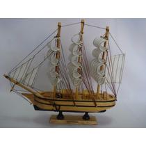 Barco Caravela 30cm Veleiro Madeira Tecido Decorativa