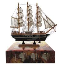 Barco Caravela Decorativo 30cm Réplica Navio Em Madeira