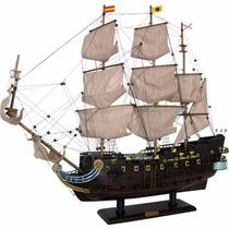 Navio Barco Fragata San Felipe Caravela 74cm Em Madeira