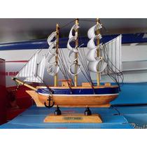 Barco Caravela Miniatura Artesanal Em Madeira