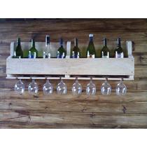 Adega De Vinhos De Madeira E Porta Ta 80 X 14 X 32cm Altura