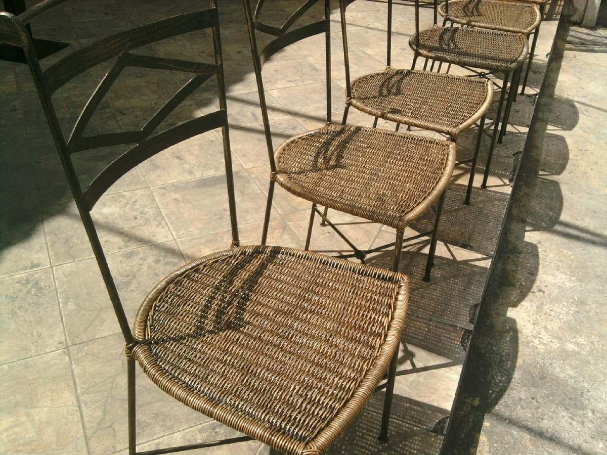 Base De Mesa Em Ferro Med 55x55 Com Cadeiras Junco Sintetíco R$ 1  #8F763C 1200x900