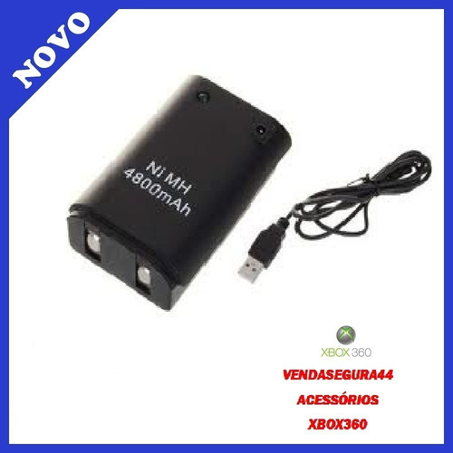Bateria Recarregável 4800 Mah + Carregador Usb - Xbox 360