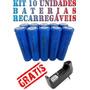 10 Baterias Li-ion 18650 3800mah 3.7v Recarregável Novas