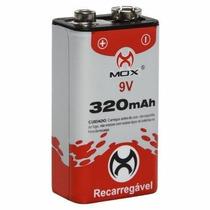 Kit 10 Bateria Mox Recarregável 9v 320 Mah Original