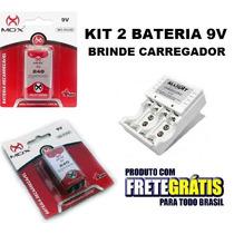 Kit Carregador Pilhas Aaa Aa + 2 Baterias Recarregável 9v