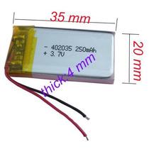 Bateria Lítio Recarregável Mp3 Mp4 E Outros 3.7 V 250 Mah