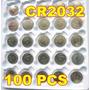 Kit C/ 100 Baterias Cr2032 3v Lithium Positronplaca Relógio