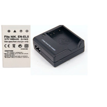 Kit Bateria Enel5 + Carregador P/ Maquina Digital Nikon P520