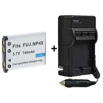 Kit Bateria Np-45 + Carregador P/ Fujifilm Finepix Xp50 Xp60
