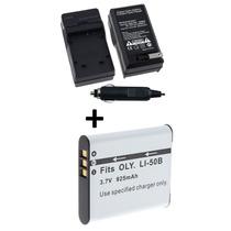 Kit Bateria Li-50b + Carregador P/ Olympus Tg-610 Tg-620