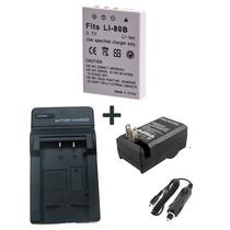 Bateria Li-80b + Carregador P Câmera Digital Olympus T100