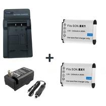 Kit 2 Baterias Np-bx1 + 1 Carregador P/ Sony Dsc-rx100 Rx1